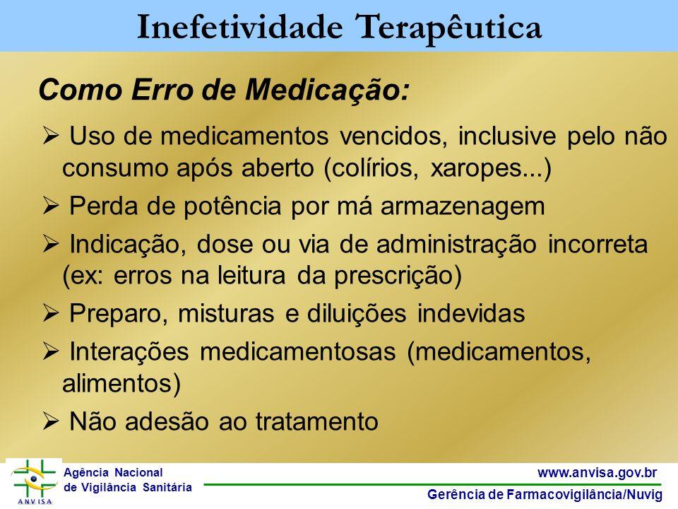 27 www.anvisa.gov.br Gerência de Farmacovigilância/Nuvig Agência Nacional de Vigilância Sanitária Como Erro de Medicação: Uso de medicamentos vencidos