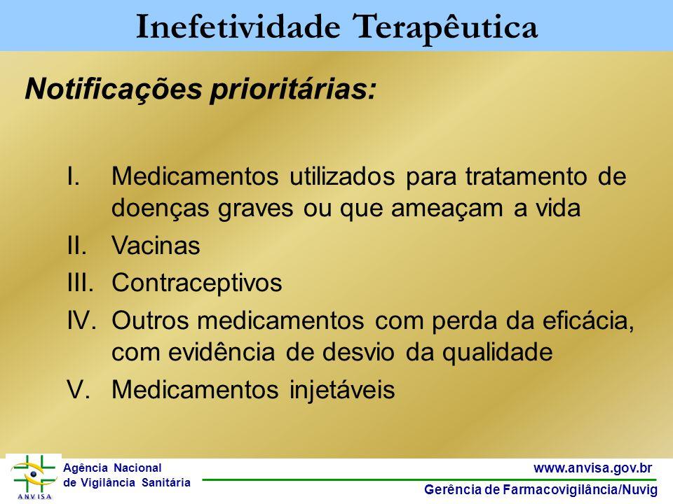28 www.anvisa.gov.br Gerência de Farmacovigilância/Nuvig Agência Nacional de Vigilância Sanitária Notificações prioritárias: Inefetividade Terapêutica