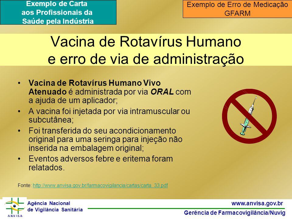 29 www.anvisa.gov.br Gerência de Farmacovigilância/Nuvig Agência Nacional de Vigilância Sanitária Vacina de Rotavírus Humano e erro de via de administ