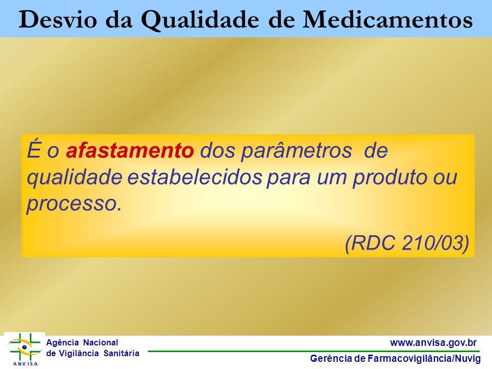 3 www.anvisa.gov.br Gerência de Farmacovigilância/Nuvig Agência Nacional de Vigilância Sanitária É o afastamento dos parâmetros de qualidade estabelec