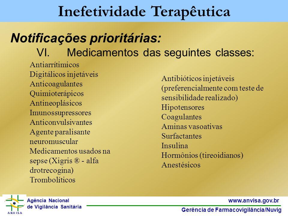30 www.anvisa.gov.br Gerência de Farmacovigilância/Nuvig Agência Nacional de Vigilância Sanitária Notificações prioritárias: Inefetividade Terapêutica