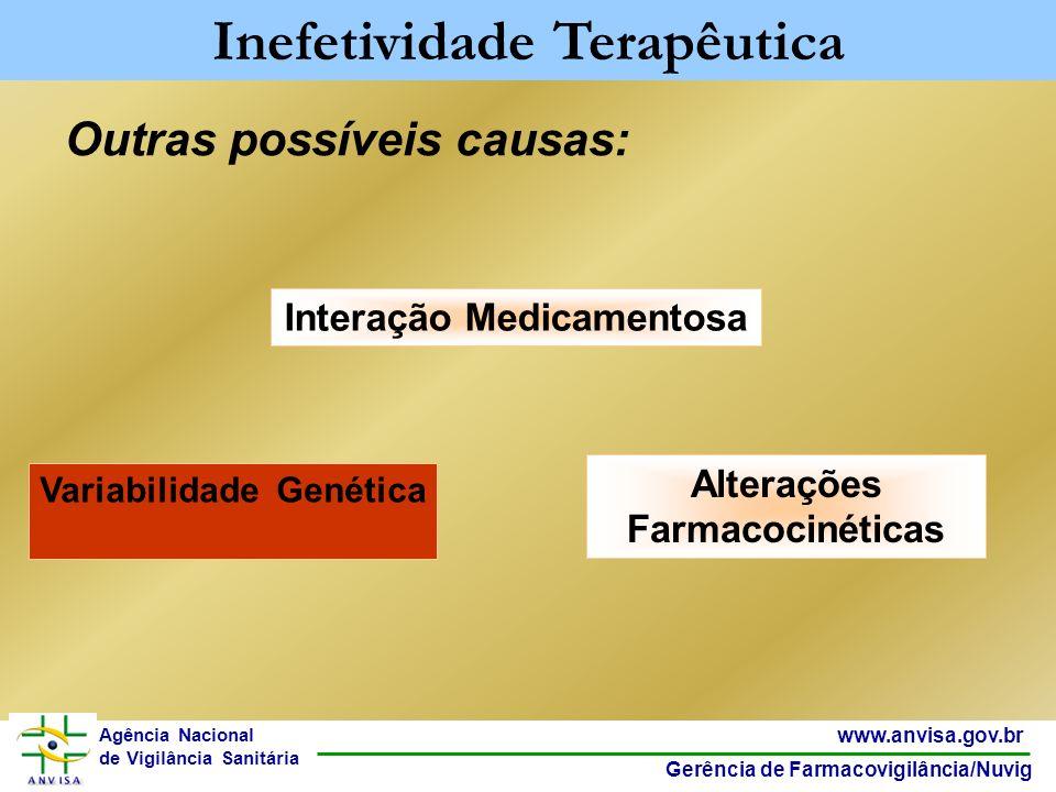 31 www.anvisa.gov.br Gerência de Farmacovigilância/Nuvig Agência Nacional de Vigilância Sanitária Outras possíveis causas: Inefetividade Terapêutica V