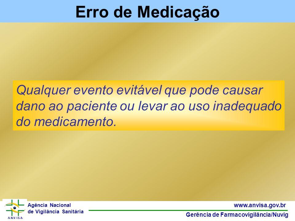 35 www.anvisa.gov.br Gerência de Farmacovigilância/Nuvig Agência Nacional de Vigilância Sanitária Qualquer evento evitável que pode causar dano ao pac