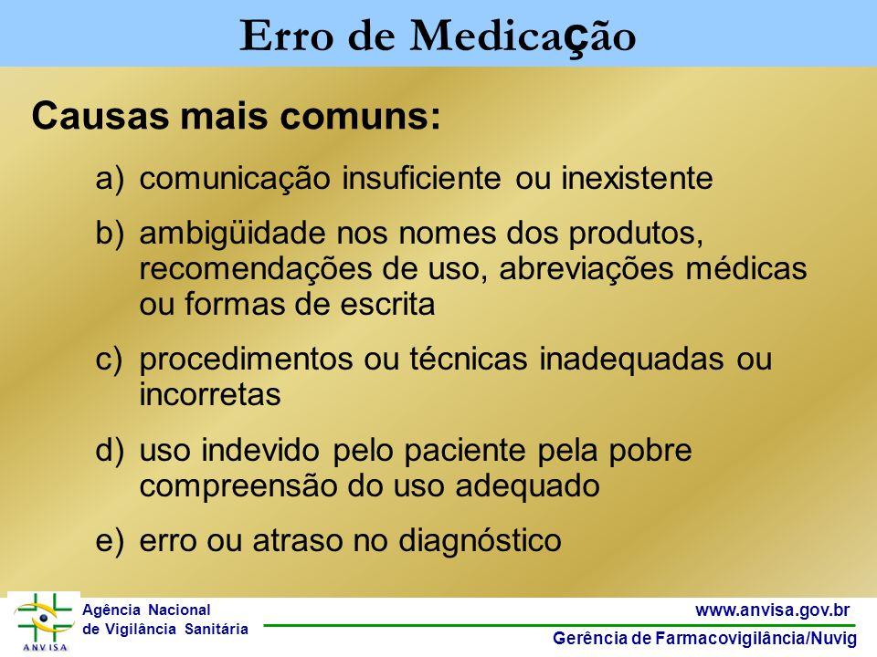 39 www.anvisa.gov.br Gerência de Farmacovigilância/Nuvig Agência Nacional de Vigilância Sanitária a)comunicação insuficiente ou inexistente b)ambigüid