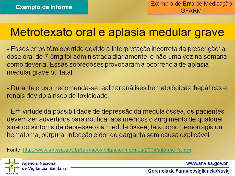 41 www.anvisa.gov.br Gerência de Farmacovigilância/Nuvig Agência Nacional de Vigilância Sanitária - Esses erros têm ocorrido devido a interpretação in