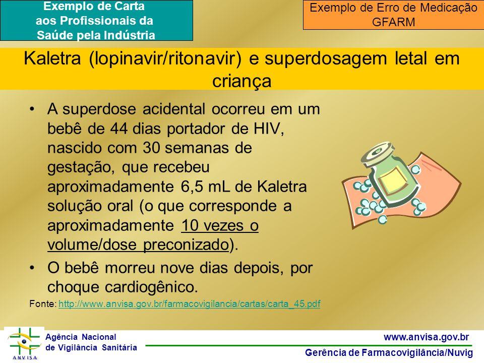 46 www.anvisa.gov.br Gerência de Farmacovigilância/Nuvig Agência Nacional de Vigilância Sanitária Kaletra (lopinavir/ritonavir) e superdosagem letal e