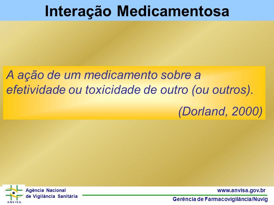 48 www.anvisa.gov.br Gerência de Farmacovigilância/Nuvig Agência Nacional de Vigilância Sanitária A ação de um medicamento sobre a efetividade ou toxi