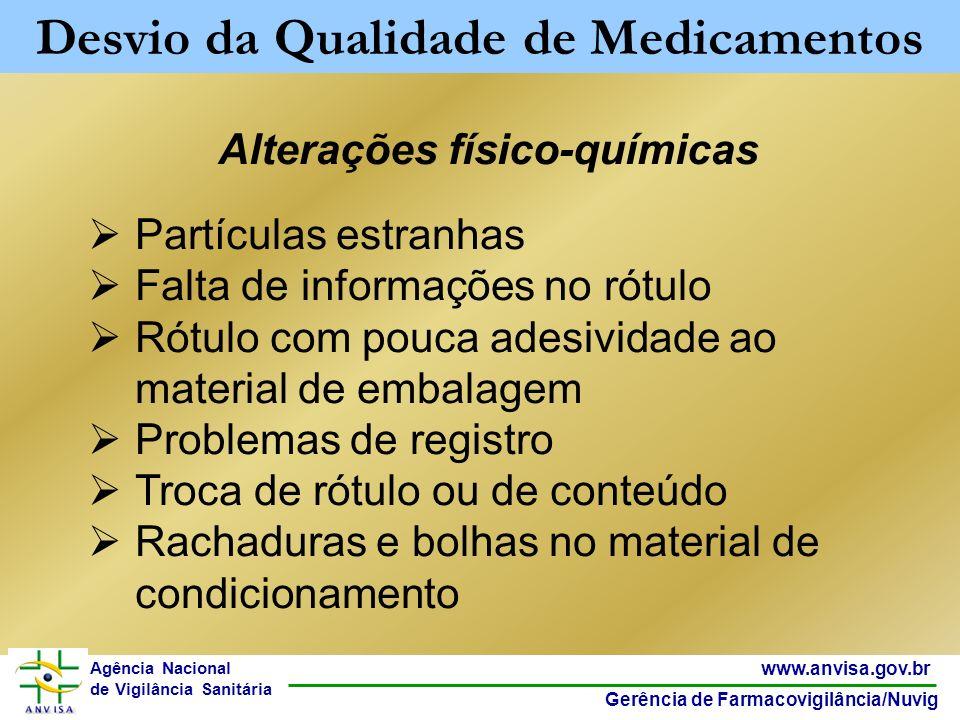 5 www.anvisa.gov.br Gerência de Farmacovigilância/Nuvig Agência Nacional de Vigilância Sanitária Alterações físico-químicas Partículas estranhas Falta