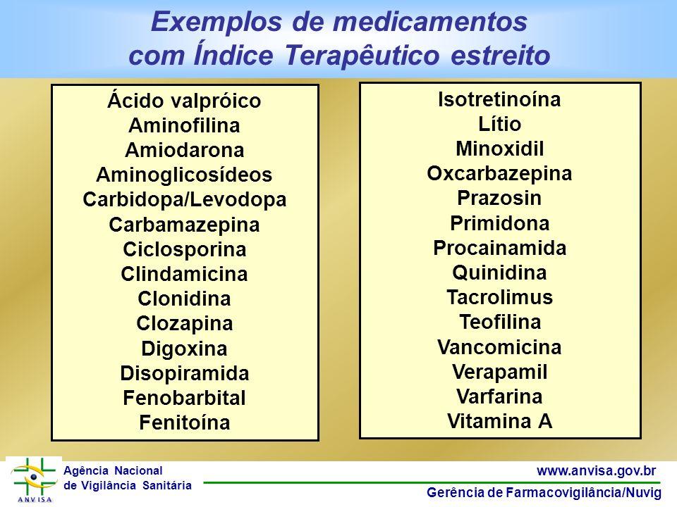50 www.anvisa.gov.br Gerência de Farmacovigilância/Nuvig Agência Nacional de Vigilância Sanitária Exemplos de medicamentos com Índice Terapêutico estr