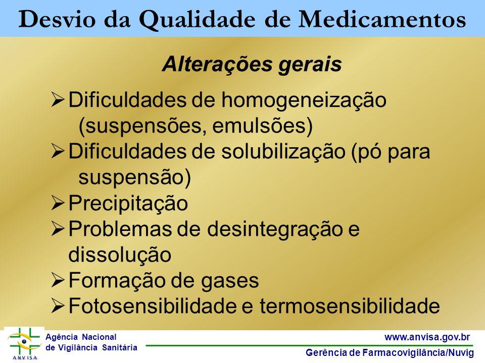 6 www.anvisa.gov.br Gerência de Farmacovigilância/Nuvig Agência Nacional de Vigilância Sanitária Alterações gerais Dificuldades de homogeneização (sus