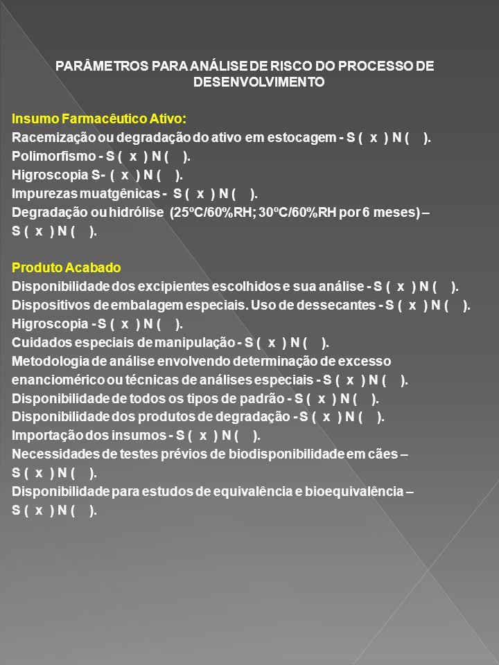 PARÂMETROS PARA ANÁLISE DE RISCO DO PROCESSO DE DESENVOLVIMENTO Insumo Farmacêutico Ativo: Racemização ou degradação do ativo em estocagem - S ( x ) N