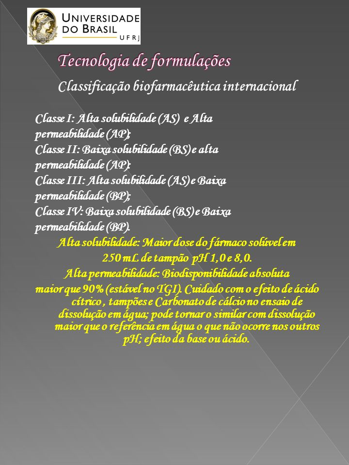 Classificação biofarmacêutica internacional Classe I: Alta solubilidade (AS) e Alta permeabilidade (AP); Classe II: Baixa solubilidade (BS) e alta per