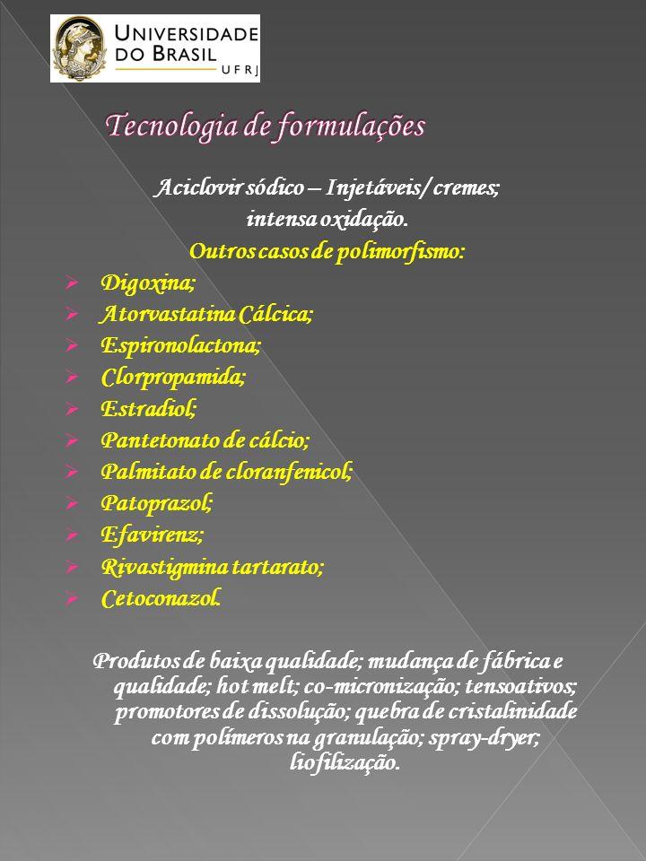 Aciclovir sódico – Injetáveis/ cremes; intensa oxidação. Outros casos de polimorfismo: Digoxina; Atorvastatina Cálcica; Espironolactona; Clorpropamida