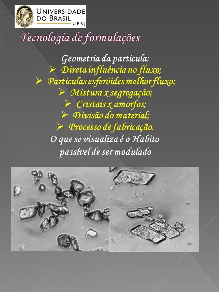 Geometria da partícula: Direta influência no fluxo; Partículas esferóides melhor fluxo; Mistura x segregação; Cristais x amorfos; Divisão do material;