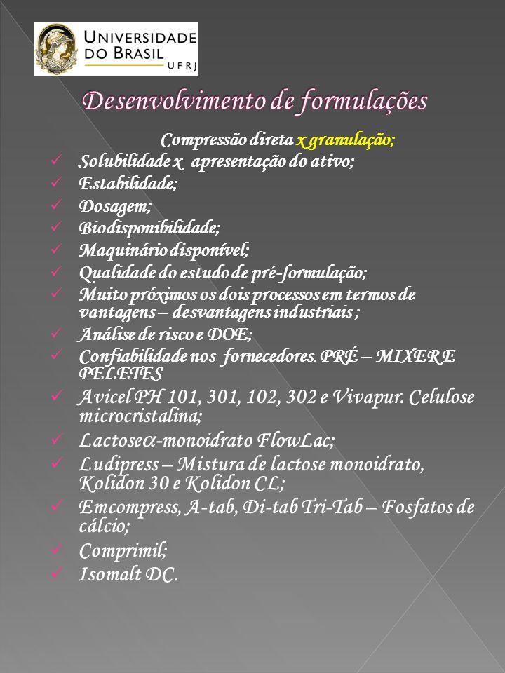 Compressão direta x granulação; Solubilidade x apresentação do ativo; Estabilidade; Dosagem; Biodisponibilidade; Maquinário disponível; Qualidade do e