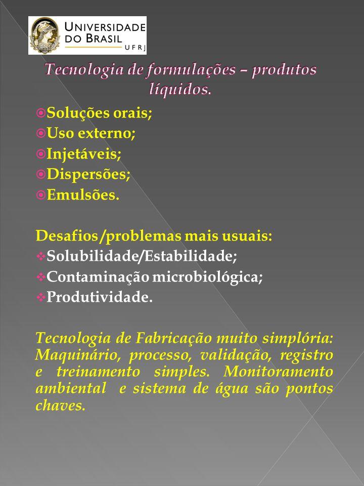 Soluções orais; Uso externo; Injetáveis; Dispersões; Emulsões. Desafios /problemas mais usuais: Solubilidade/Estabilidade; Contaminação microbiológica