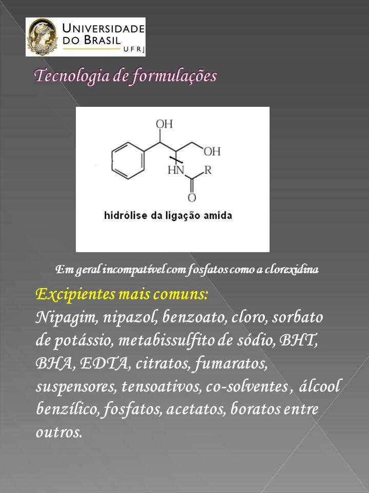 Excipientes mais comuns: Nipagim, nipazol, benzoato, cloro, sorbato de potássio, metabissulfito de sódio, BHT, BHA, EDTA, citratos, fumaratos, suspens