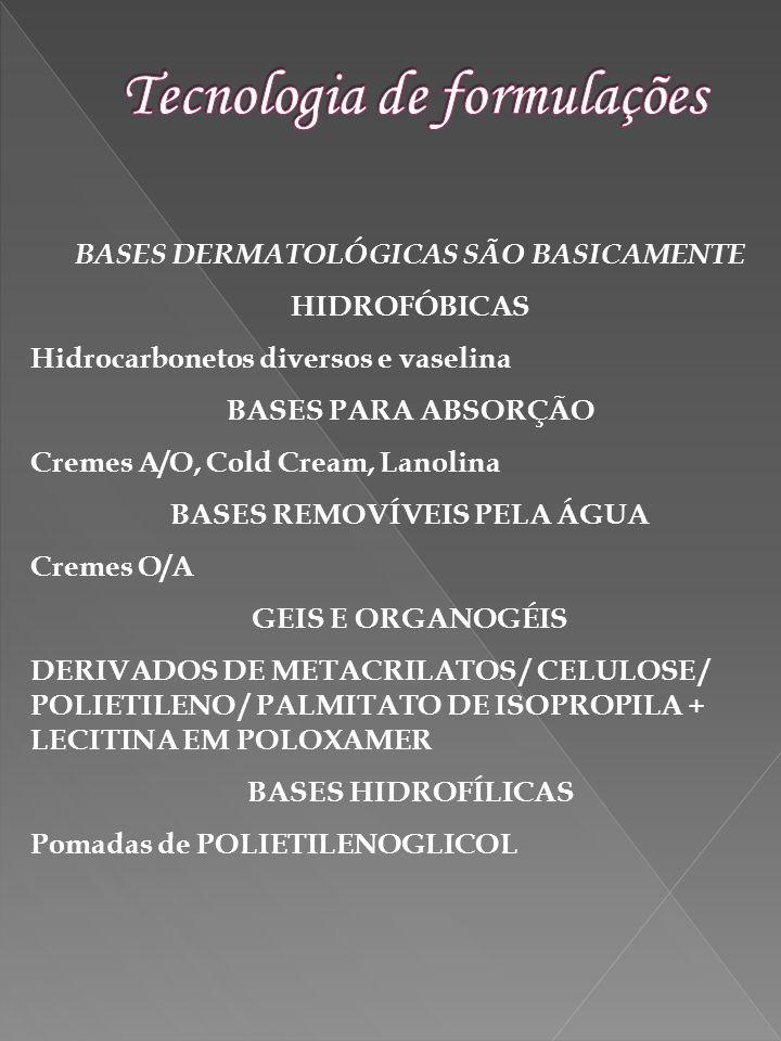 BASES DERMATOLÓGICAS SÃO BASICAMENTE HIDROFÓBICAS Hidrocarbonetos diversos e vaselina BASES PARA ABSORÇÃO Cremes A/O, Cold Cream, Lanolina BASES REMOV