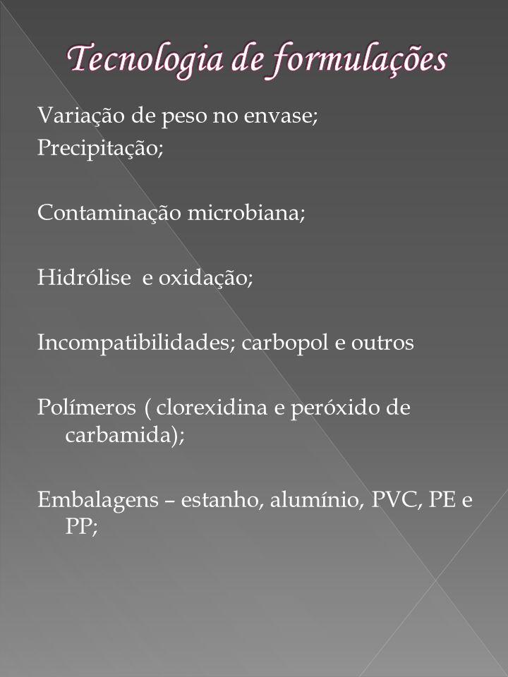 Variação de peso no envase; Precipitação; Contaminação microbiana; Hidrólise e oxidação; Incompatibilidades; carbopol e outros Polímeros ( clorexidina