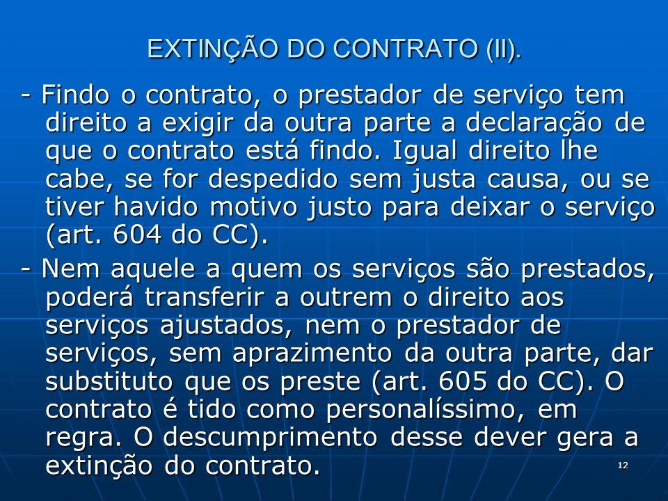 12 EXTINÇÃO DO CONTRATO (II).