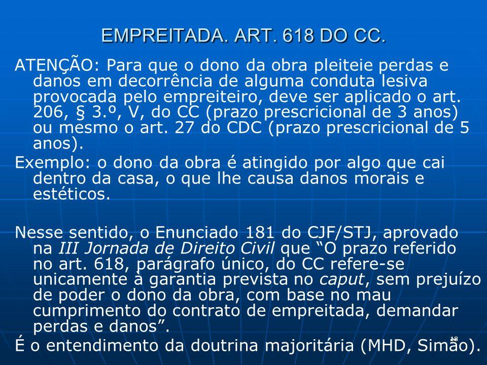 18 EMPREITADA. ART. 618 DO CC.