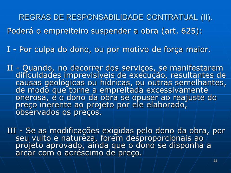 22 REGRAS DE RESPONSABILIDADE CONTRATUAL (II). Poderá o empreiteiro suspender a obra (art.