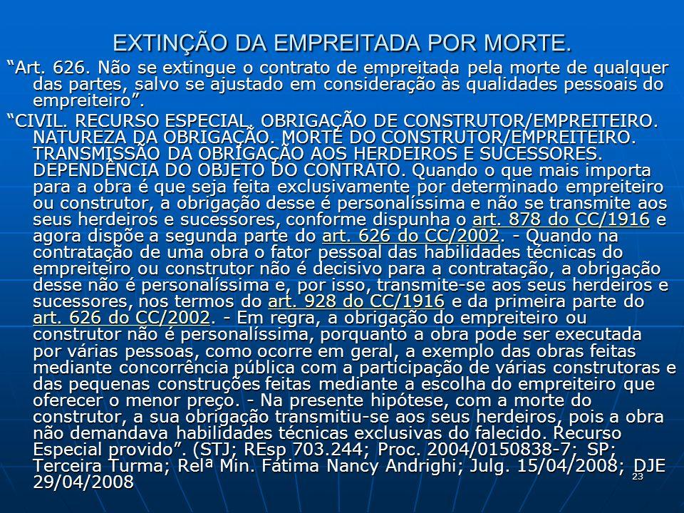 23 EXTINÇÃO DA EMPREITADA POR MORTE. Art. 626.