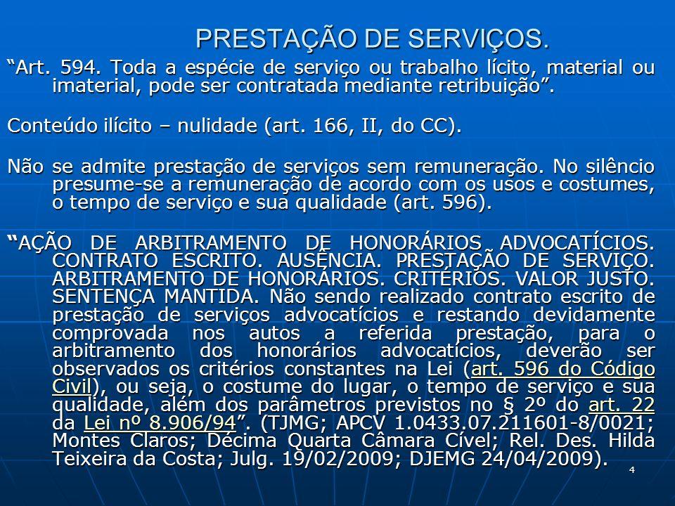 4 PRESTAÇÃO DE SERVIÇOS. Art. 594.