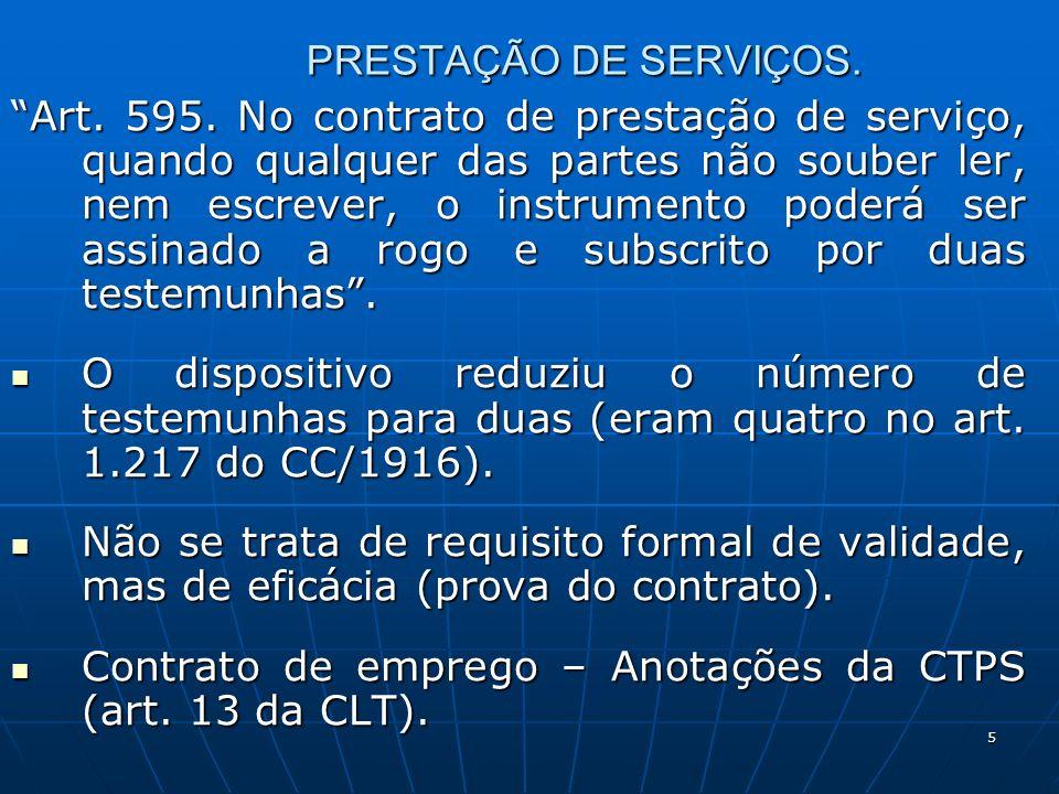 5 PRESTAÇÃO DE SERVIÇOS. Art. 595.