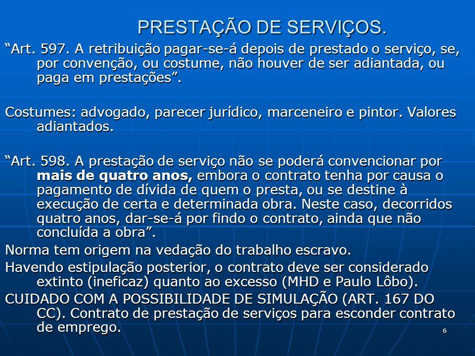 6 PRESTAÇÃO DE SERVIÇOS. Art. 597.