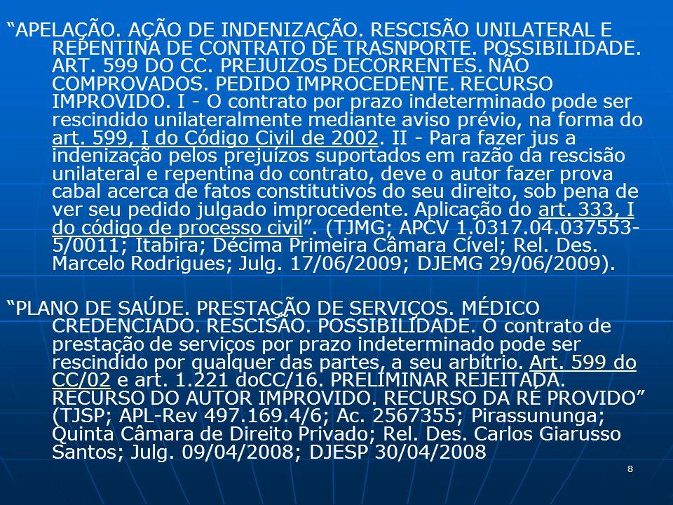8 APELAÇÃO. AÇÃO DE INDENIZAÇÃO. RESCISÃO UNILATERAL E REPENTINA DE CONTRATO DE TRASNPORTE.
