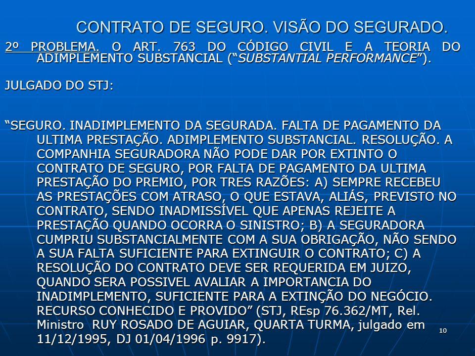 10 CONTRATO DE SEGURO. VISÃO DO SEGURADO. 2º PROBLEMA.
