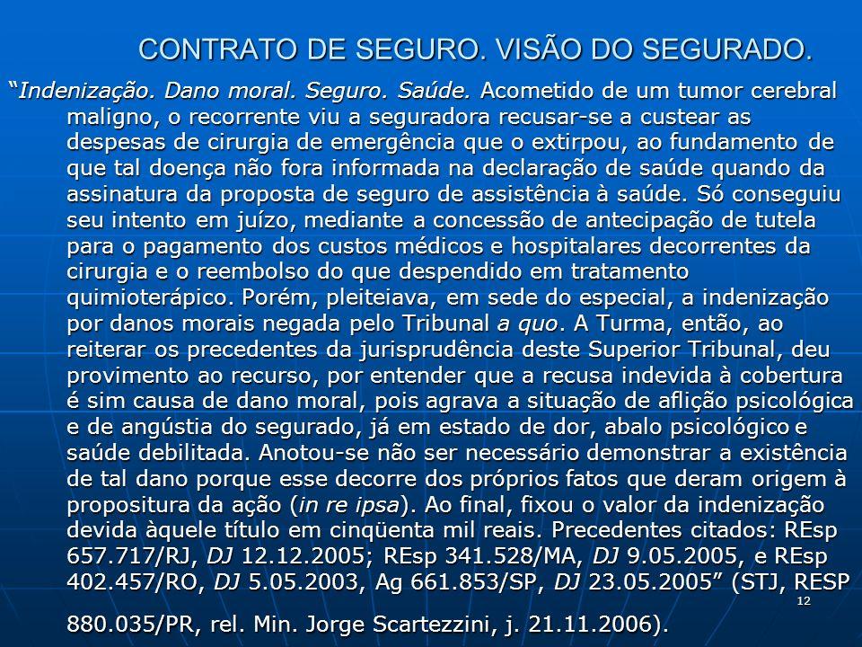 12 CONTRATO DE SEGURO. VISÃO DO SEGURADO. Indenização.