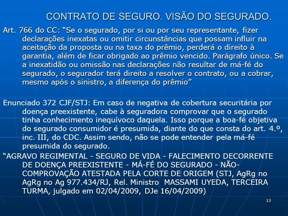 13 CONTRATO DE SEGURO. VISÃO DO SEGURADO. Art. 766 do CC: Se o segurado, por si ou por seu representante, fizer declarações inexatas ou omitir circuns