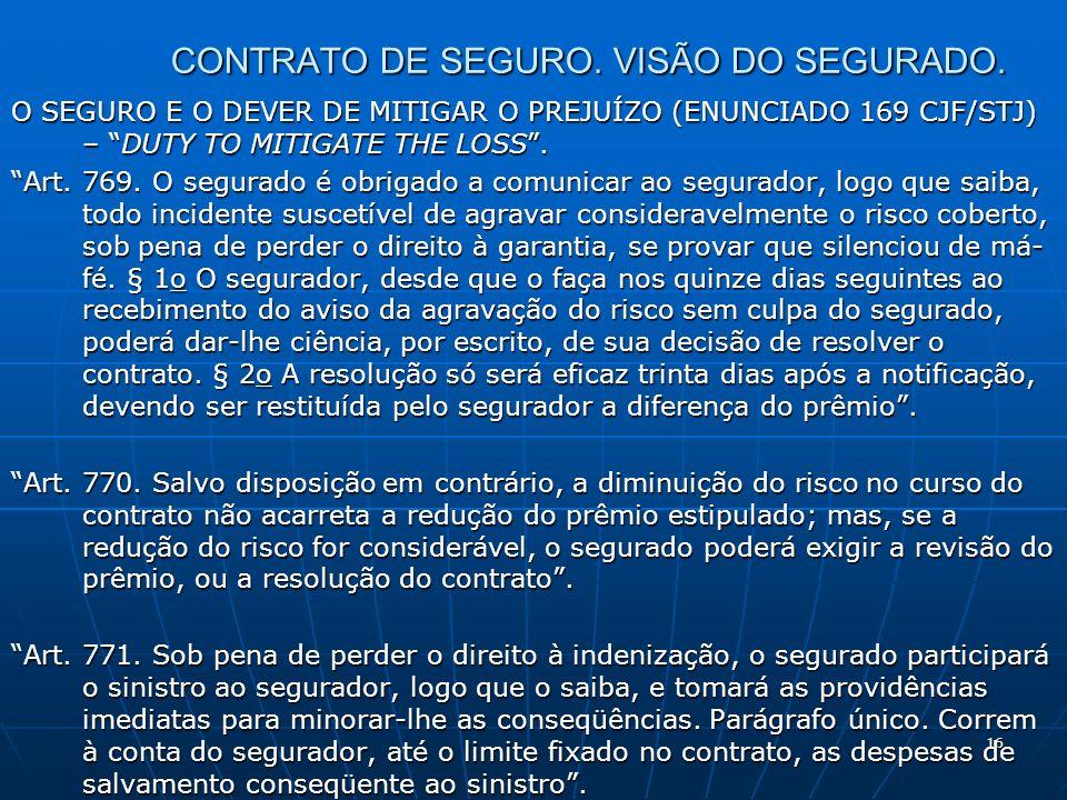 16 CONTRATO DE SEGURO. VISÃO DO SEGURADO.