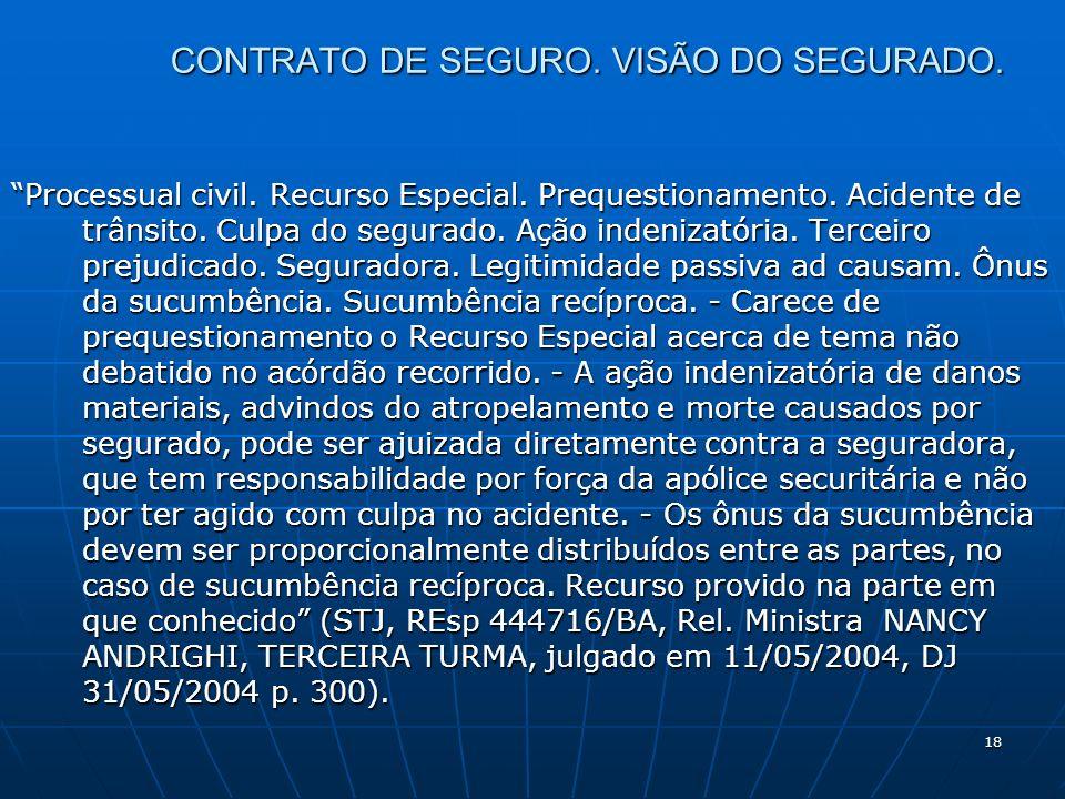 18 CONTRATO DE SEGURO. VISÃO DO SEGURADO. Processual civil.
