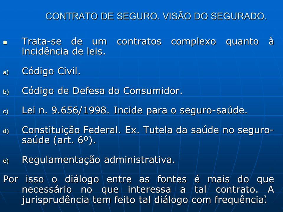 3 CONTRATO DE SEGURO. VISÃO DO SEGURADO. Trata-se de um contratos complexo quanto à incidência de leis. Trata-se de um contratos complexo quanto à inc