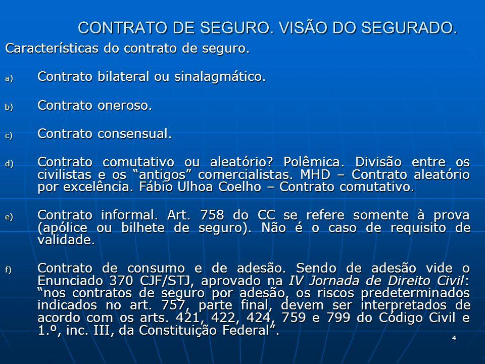 4 CONTRATO DE SEGURO. VISÃO DO SEGURADO. Características do contrato de seguro. a) Contrato bilateral ou sinalagmático. b) Contrato oneroso. c) Contra