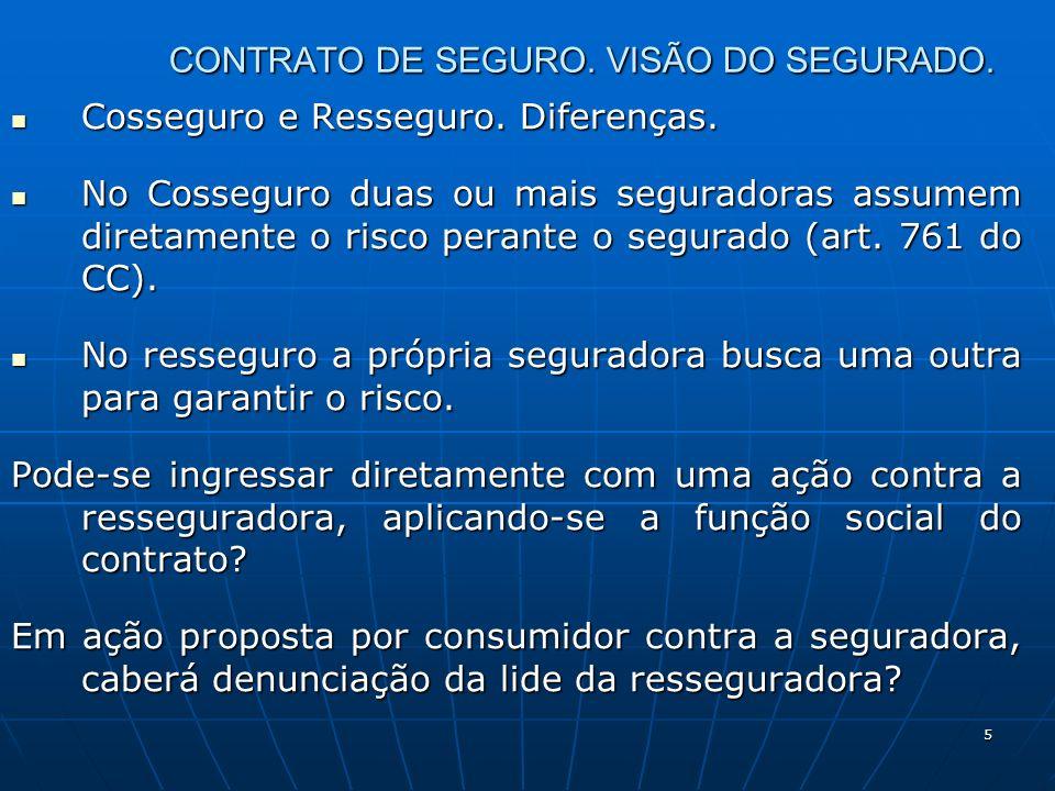 5 CONTRATO DE SEGURO. VISÃO DO SEGURADO. Cosseguro e Resseguro.