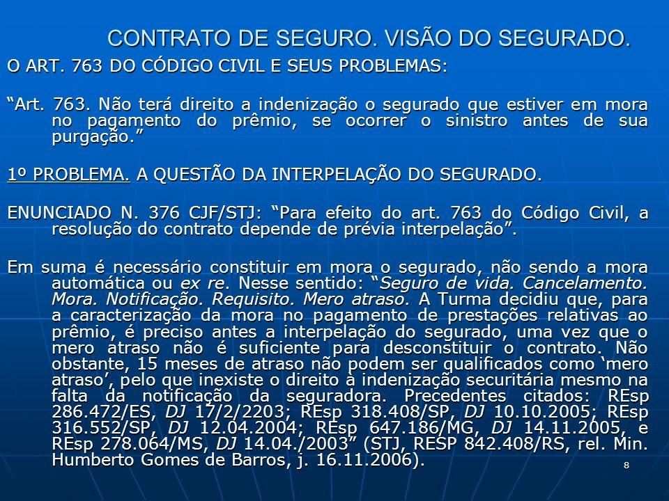 8 CONTRATO DE SEGURO. VISÃO DO SEGURADO. O ART. 763 DO CÓDIGO CIVIL E SEUS PROBLEMAS: Art.