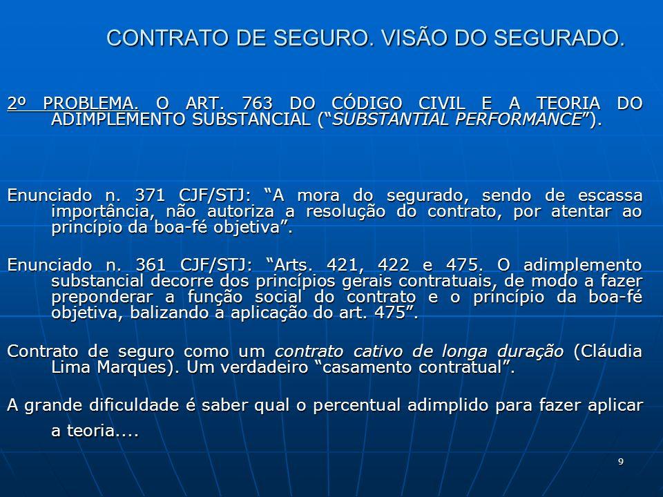 9 CONTRATO DE SEGURO. VISÃO DO SEGURADO. 2º PROBLEMA.