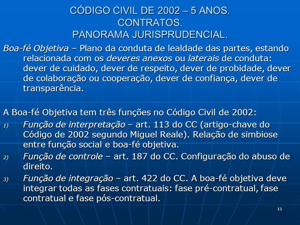 11 CÓDIGO CIVIL DE 2002 – 5 ANOS. CONTRATOS. PANORAMA JURISPRUDENCIAL.