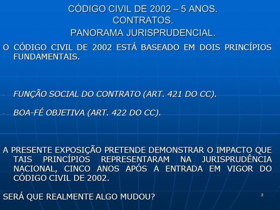 2 CÓDIGO CIVIL DE 2002 – 5 ANOS. CONTRATOS. PANORAMA JURISPRUDENCIAL.