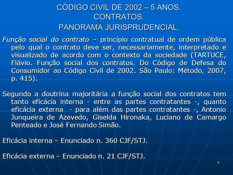 3 CÓDIGO CIVIL DE 2002 – 5 ANOS. CONTRATOS. PANORAMA JURISPRUDENCIAL.