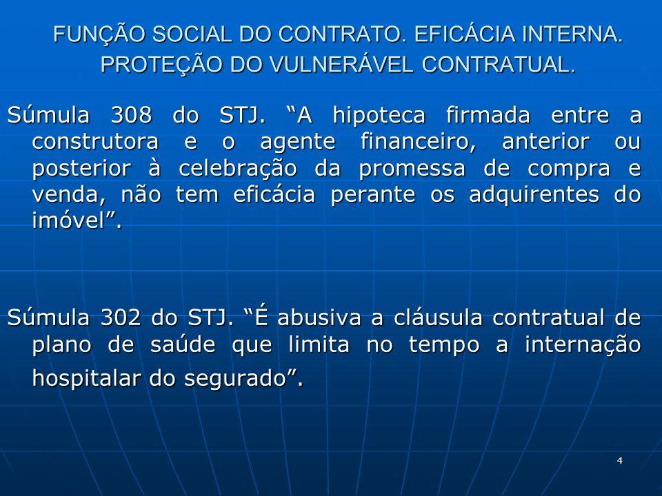 4 FUNÇÃO SOCIAL DO CONTRATO. EFICÁCIA INTERNA. PROTEÇÃO DO VULNERÁVEL CONTRATUAL.