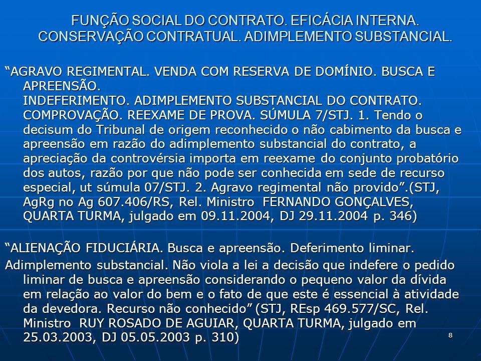 8 FUNÇÃO SOCIAL DO CONTRATO. EFICÁCIA INTERNA. CONSERVAÇÃO CONTRATUAL.