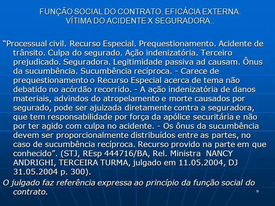 9 FUNÇÃO SOCIAL DO CONTRATO. EFICÁCIA EXTERNA. VÍTIMA DO ACIDENTE X SEGURADORA..