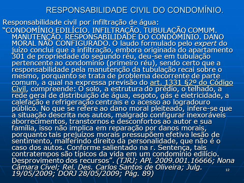 12 RESPONSABILIDADE CIVIL DO CONDOMÍNIO.