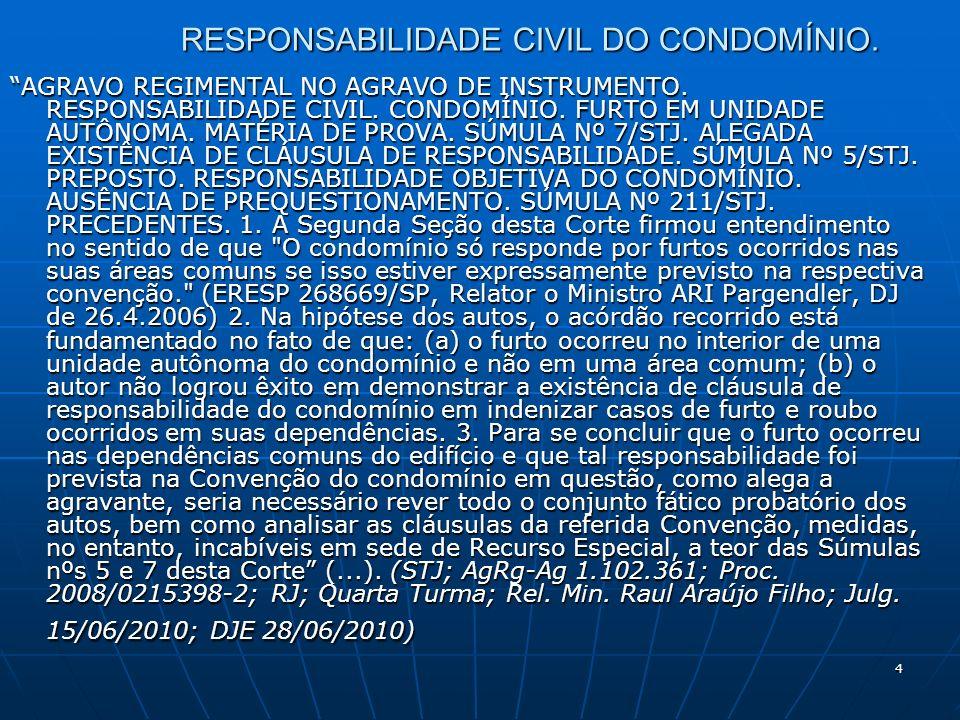 15 RESPONSABILIDADE CIVIL DO CONDOMÍNIO.AGRESSÕES ENTRE CONDÔMINOS.