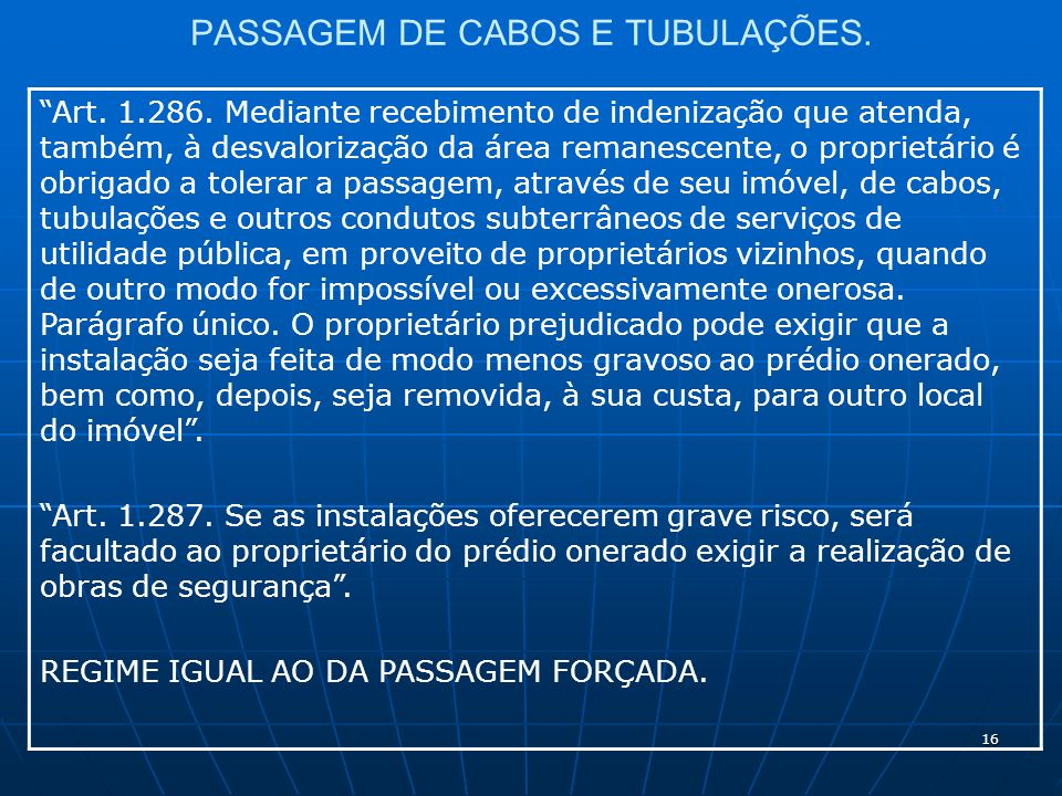 16 PASSAGEM DE CABOS E TUBULAÇÕES. Art. 1.286.